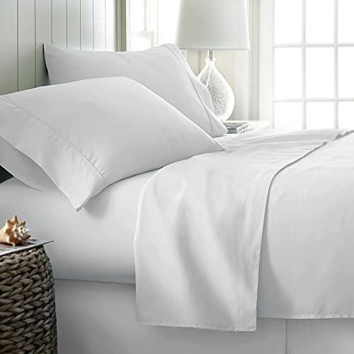 """600-Thread-Count Best 100% Egyptian Cotton Sheets & Pillowcases Set – 4 Pc White Long-Staple Combed Cotton Bedding Queen Sheet for Bed, Fits Mattress Upto 18"""" Deep Pocket, Soft & Silky Sateen Weave"""