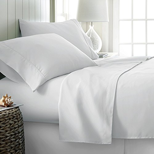 6 Piece Hotel Luxury Soft 1800 Series Premium Bed Sheets Set, Deep Pockets, Hypoallergenic, Wrinkle & Fade Resistant Bedding Set(Queen, White)