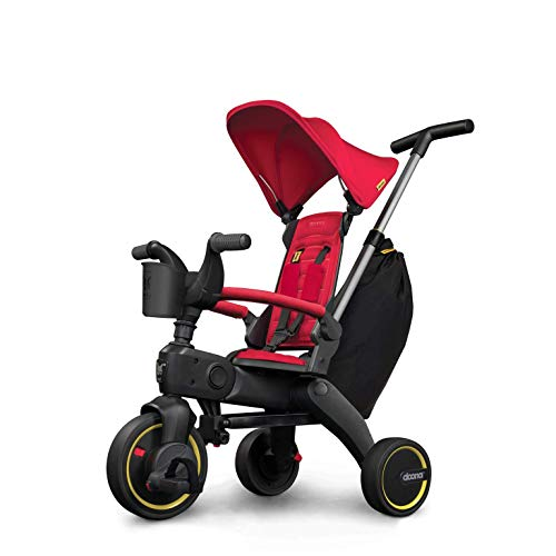 Doona Liki Trike S3 - Premium Foldable Push Trike and Kid's Tricycle for Ages 10 Months to 3 Years, Flame Red