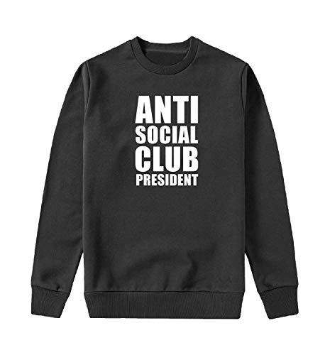 MYMERCHANDISE Anti Social Club President White Text Felpa con Cappuccio Crewneck Maglione Sweater Sweatshirt Mens MD Black Crewneck