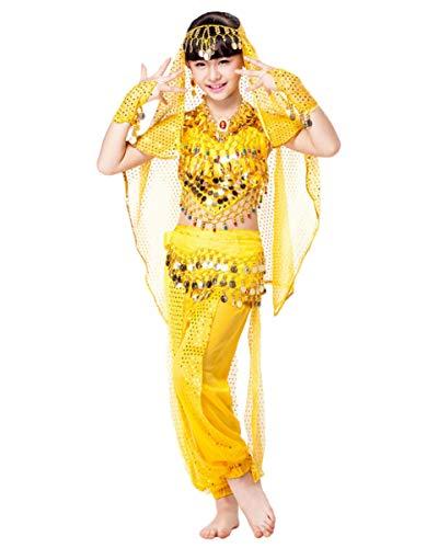 Grouptap Bollywood India bebé niña niños 4 Piezas Princesa árabe Danza del Vientre Traje Amarillo Top Pantalones cinturón Velo Elegante Traje de niño (Amarillo, 90-110 cm)