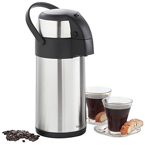 VonShef Edelstahl Pump-Isolierkanne-Thermoskanne Airpot für Tee, Kaffee und Suppe (3L) Druckknopf Thermosflasche, Isolierflasche und Thermo Flasche