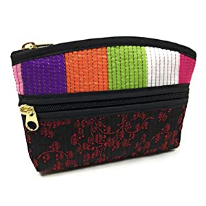 Fashion Shopping Bag FabCloud mini Rainbow floral black bright by WiseGloves, pocket cosmetic make up pouch bag handbag accessory