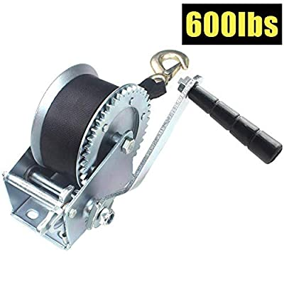 OPENROAD 600lbs Hand Winch with Strap,Hand Crank Gear Winch Portable Manual Winch for Trailer, Boat or ATV