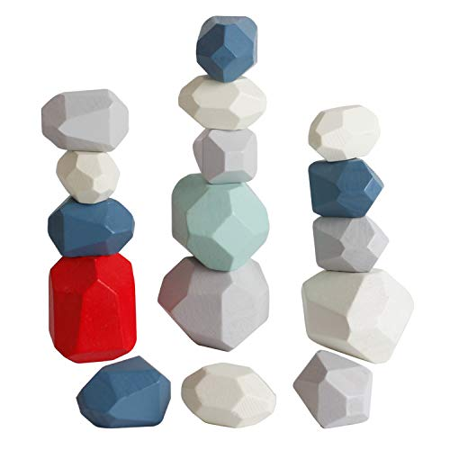 bodolo 16 PCs Wooden Rocks Sorting Stacking Balancing Stones Educational Preschool Learning Toys Small Building Blocks Game Stones Lightweight Puzzle Set for Kids 3 Years Old Up