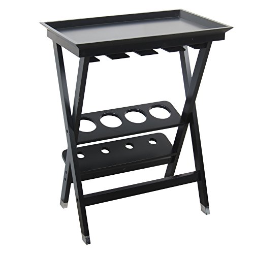 208 Fryar Design Black Finish All Wood Folding Wine Storage Table