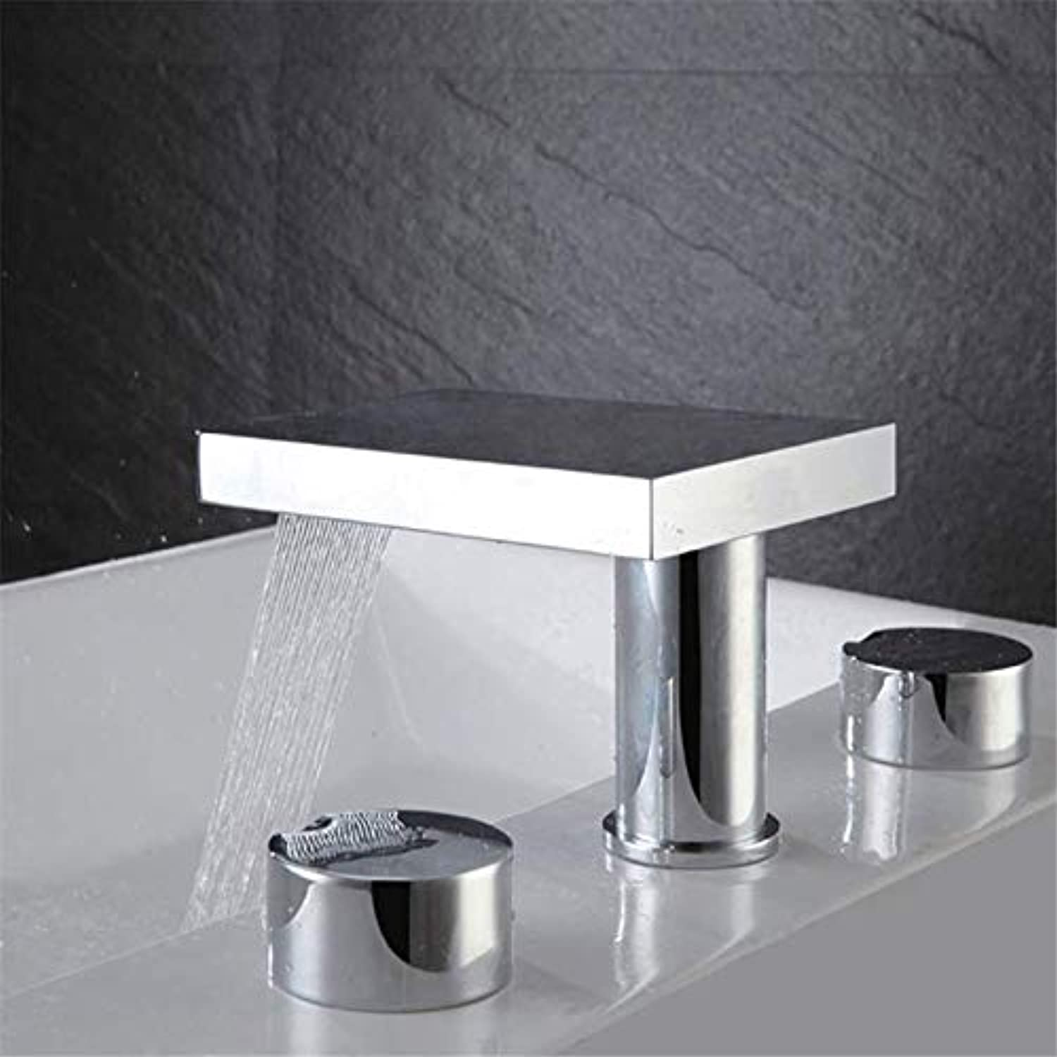 Modern Stylish Faucet Deck Mountain Waterfall Basin Mixer Bathroom with Two Handles a Waterfall Out of The Water