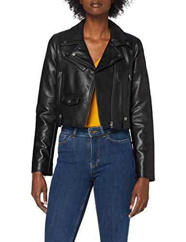 Pepe Jeans GWEN Chaqueta de Cuero de imitación, Negro (Black 999), Medium para Mujer