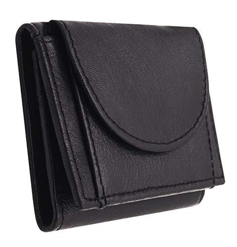 BelleBay Kompakte Mini-Geldbörse | Leder Kleingeldbörse - Scheinbörse | Minibörse - Portmonee | Kleine Münzbörse mit Scheinfach | Portemonnaie (Schwarz)