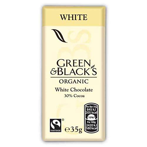 Green & Black's Organic White Chocolate Bar, 35g (Pack of 10)