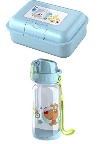 Haba Trinkflasche 304471 und Brotdose 304472 im Set - Motiv Regenbogen Farben