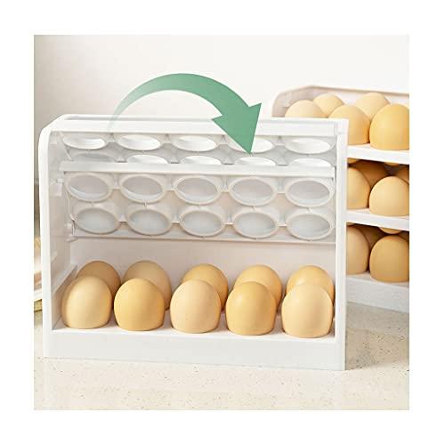 Soporte para huevos con tapa, 3 capas, 30 hueveras, fácil de limpiar, con asa, color blanco