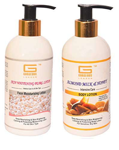 Gorgeous London Skin Whitening Pearl Face Moisturising & Almond milk honey body Lotion Combo (Pack of 2) Each 300ml