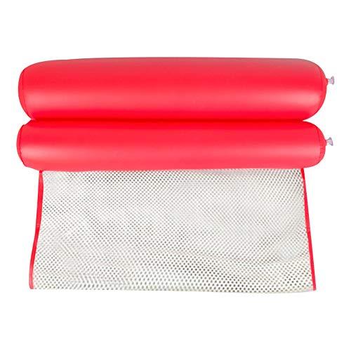 Susue - Hamaca plegable de agua para personas individuales, respaldo hinchable para la playa, para la piscina Nylon rojo