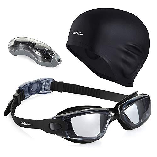 Uniswim Swimming Goggles Swim Cap Set Professional Swim Goggles Silicone Swimming Cap for Women Men -Black.