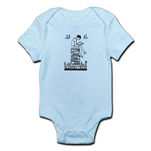 CafePress Reading Girl ATOP Books Infant Bodysuit Cute Infant Bodysuit Baby Romper Sky Blue