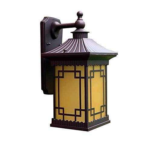 YBright Lámparas de linterna de pared antigua Linterna exterior de la linterna con vidrio amarillo Lámpara de pared a prueba de agua para vidrio fuera de las accesorios de la casa para la entrada del