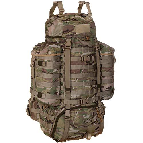 Wisport taktischer Militär Rucksack Damen Herren + inkl. E-Book | Tactical Backpack | Military Pack Molle | Armeerucksack Tarnung | Camouflage | Raccoon 85 Liter, US Multicam