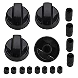 4 Pack Universal Control Knobs Switch Knob Replacement Part with 12 Adapters Black for Most Gas and Electric...