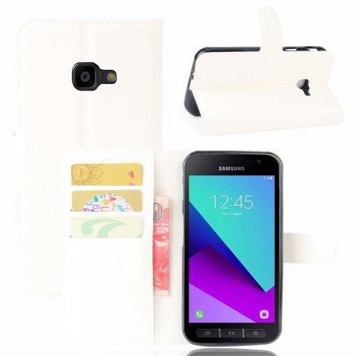 jbTec® Flip Case Handy-Hülle passend für Samsung Galaxy Xcover 4 / SM-G390 - Book EINFARBIG - Handy-Tasche Schutz-Hülle Cover Handyhülle Ständer Bookstyle Booklet, Farbe:Weiß