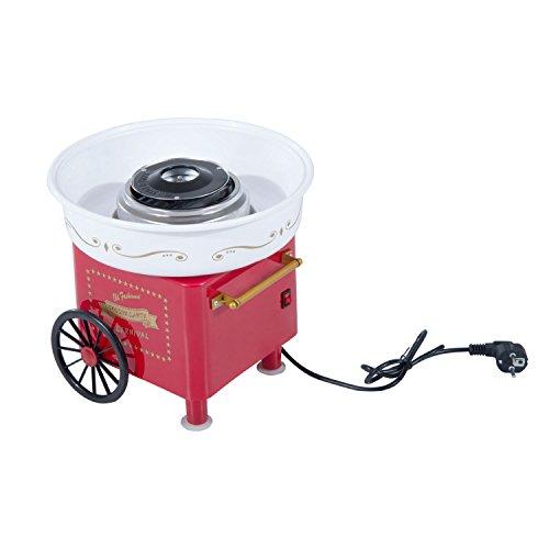 HOMCOM Zuckerwattemaschine Zuckerwattegerät 450-550 W Zuckerwatte 2 Heizröhren mit 10 Stäbchen Edelstahl Alu (Modell 2/Rot)