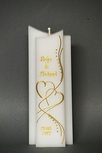 ♥♥ edle Hochzeitskerze ♥♥ mit Steinen - in Sonderform -Gold- ; inkl. Beschriftung ! I 19