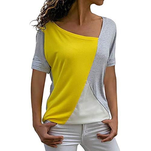 Blusa de Mujer Tops Larga con Estampado de Labios Camiseta con Cuello Redondo Blusa con Cuello Redondo de Mujer de Flores de Manga Corta de Verano Estampado de túnica Camisa Larga con Cuello Suelto