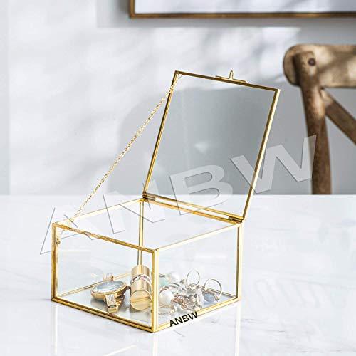 ANBW - Caja decorativa de latón y cristal transparente para decoración del hogar, caja de joyería, tamaño organizador, 12,7 x 12,7 x 8,9 cm, color dorado