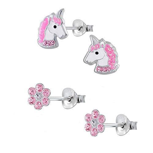 Five-D, 2 paia di orecchini per bambini, a forma di unicorno e fiore, in argento 925 e cristalli, con cofanetto e Argento, colore: Cristalli rosa glitterati., cod. set363-V