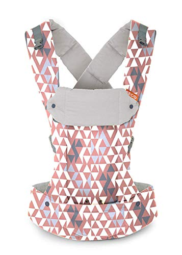 Beco Gemini Baby Carrier  Geo Dusty Pink Sleek and Simple 5in1 All Position Backpack Style Sling for Holding Babies Infants and Child from 735 lbs Certified Ergonomic