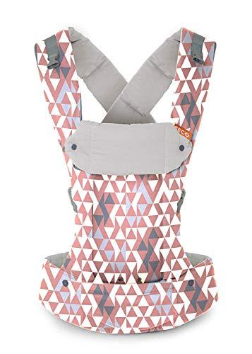 Portabebés Beco Gemini - Portabebés Simple y Estilizado Ajustable en todas las posiciones para bebés infantes y niños de 7 a 35 libras con ergonomía certificada (Geo Dusty Pink)