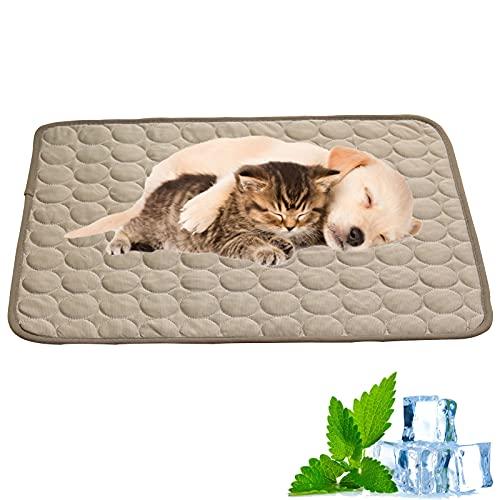 WBias&Belief Alfombrilla de refrigeración para mascotas, para perros, para dormir, para perros, perros, perros, perros, camas y asientos, color gris claro, XS