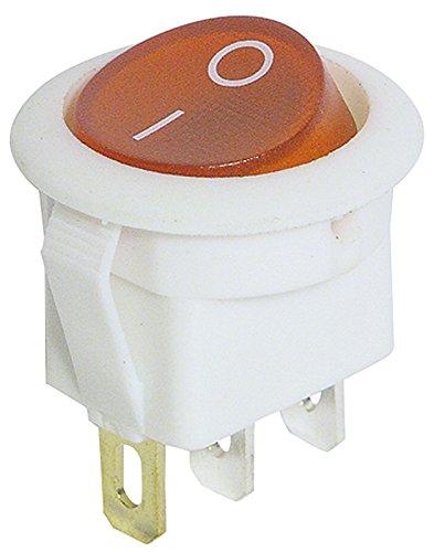 No-name Interrupteur à bascule 3 pôles, interrupteur à bascule, lumineux, rouge AC 250 V/6,5 A, blanc, 2 positions : ON/OFF