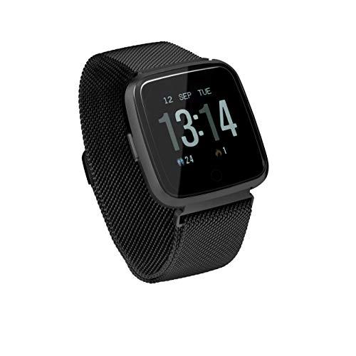 Sami - Fitness XL - Smartwatch, Smartband, Pulsera de Actividad Deportiva. Color Negro. para Android y iOS Función: GPS, presión sanguínea, Fuerza G, Multideportivo. Correa magnética.