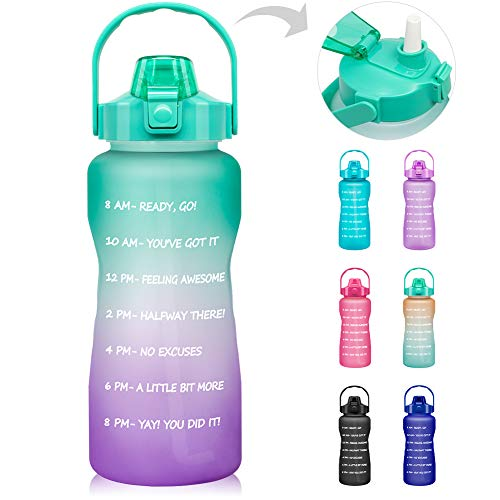 64 OZ/Half Gallon Motivational Water Bottle with Time Marker & Straw - BPA Free Leakproof Tritan Frosted Plastic Big 2L Water Bottle for Women Men Large Water Jug for Fitness Gym Outdoor Sport