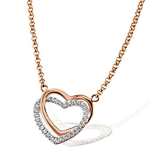 Goldmaid - Collana da Donna a forma di cuore in Argento Sterling 925 ossidato con zirconi