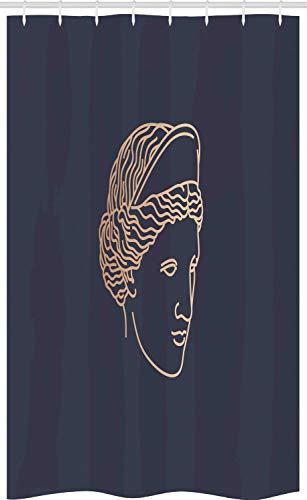 ABAKUHAUS Venus Cortina para baño, Esquema Afrodita Arte Cabeza, Tela con Estampa Digital Apta Lavadora Incluye Ganchos, 120 x 180 cm, Tan Oscuro Azul Gris