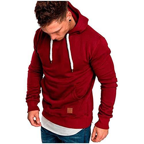 CHAOX - Sudadera con capucha para hombre, informal, para hombre, para hombre, sudadera con capucha (color: rojo vino, talla: XL)