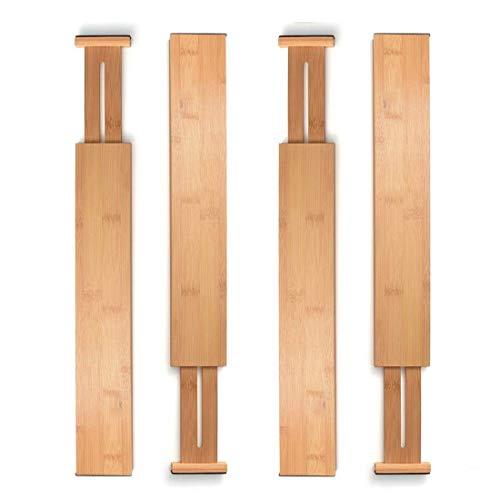 Unuber Bamboo Drawer Dividers, Cabinet Drawer Organizers Separators Partitions for Home Office Dresser Bathroom Bedroom Desk Closet,Adjustable 4 Set Natural Brown