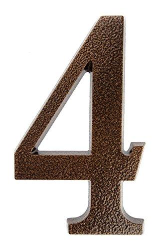 HUBER Hausnummer Nr. 4 Aluminium pulverbeschichtet kupfer antike 20 cm, edles dreidimensionales Design