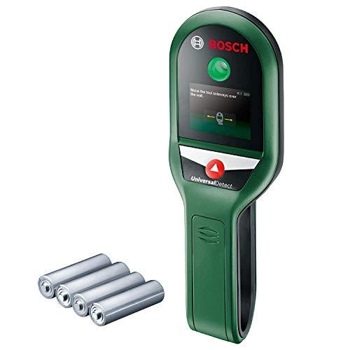 Bosch Ortungsgerät UniversalDetect (für Metall, spannungsführende Kabel und Holzunterkonstruktionen in 100/50/25 mm Erfassungstiefe; Kartoninhalt: Bosch UniversalDetect, 4x 1,5-V Batterien)