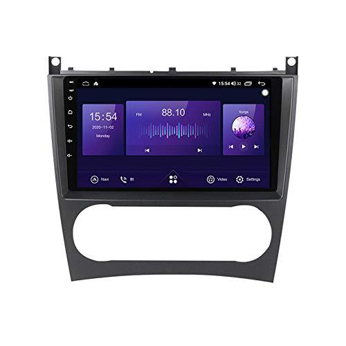 ADMLZQQ 2 DIN Car Stereo Autoradio Reproductor Bluetooth MP5 Pantalla táctil de 9 Pulgadas para Benz W203 con Monitor de reposacabezas Carplay FM AUX USB Función SD Control del Volante,6+128G