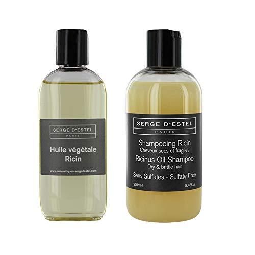 SERGE D ESTEL PARIS Shampoing Ricin Sans Sulfate 250ml Huile de Ricin 100ml. Soin pour Cheveux Très Secs au Ricin