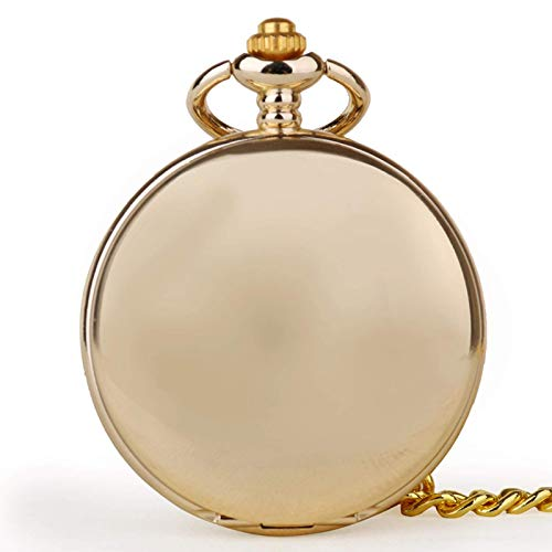 J-Love Reloj de Bolsillo Dorado Moda Steampunk Números Romanos Exhibición Hombres Mujeres Regalos con Accesorios de Cadena