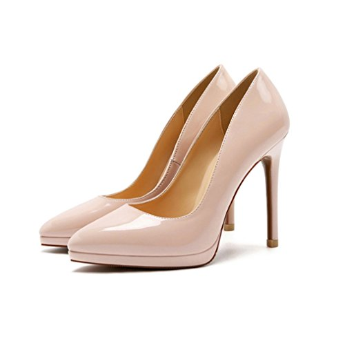 Moda Zapatos con Tacon Alto para Mujer Plataforma Elegante Fiesta Stiletto (Beige,40)