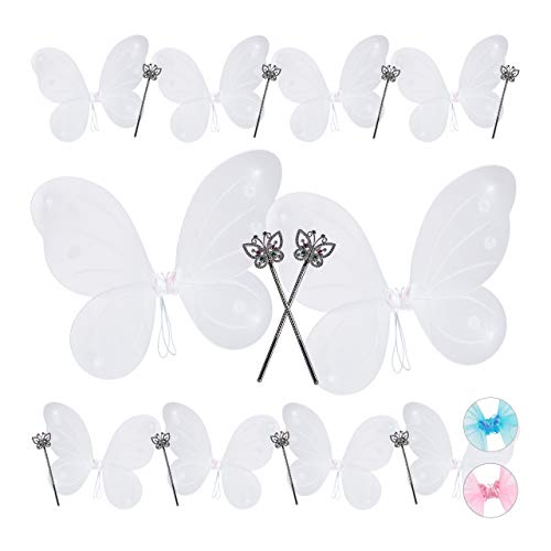 Relaxdays 10 x Feenflügel mit Zauberstab, Fee Kostüm Kinder, Flügel & Zepter, Glitzer, Mädchen, Feenset, weiß & Silber