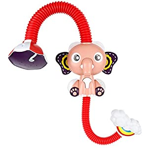 Meimos Shower Head Baby Bath Toys Bathtub Games Swimming Bathroom 360° Adjustable Sprinkler Electric Elephant Animal with Four Sucker for Baby Toddler Birthday (Red)