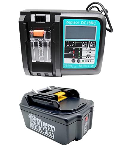 FengWings Batería de repuesto BL1840B, 18 V, 4,0 Ah, con cargador DC18RC, repuesto para radio Makita DMR100, DMR101, DMR102, batería de repuesto Makita de 18 V, BL1830, BL1840, BL1840B, BL1850