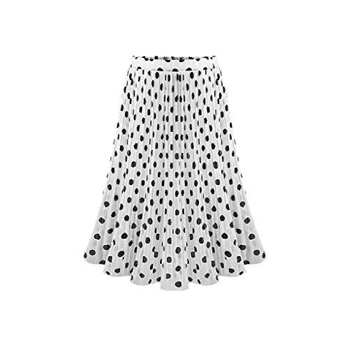 Faldas de Mujer, Falda de Lunares Blancos y Negros, Falda de Gasa Elegante para Mujer de Verano con Cintura...