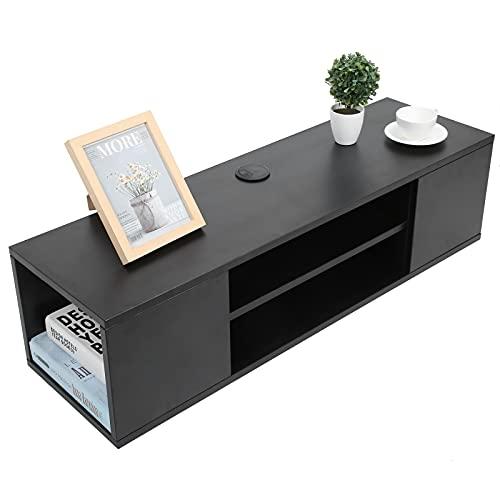 EBTOOLS 2 capas Mueble TV con 4 compartimentos portaobjetos, mesa de salón,...